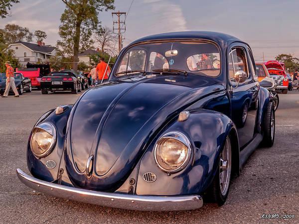 Digital Art - Vintage Vw Beetle At Sunset by Ken Morris