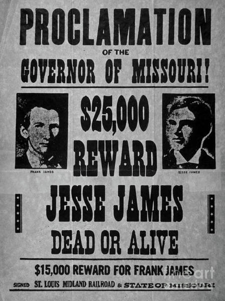 Wall Art - Drawing - Vintage Wanted Poster For The Arrest Of Jesse James by American School