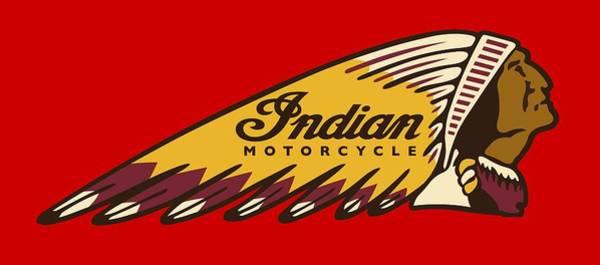 Wall Art - Digital Art - Vintage War Bonnet Indian Motorcycle Logo - T-shirt by Daniel Hagerman