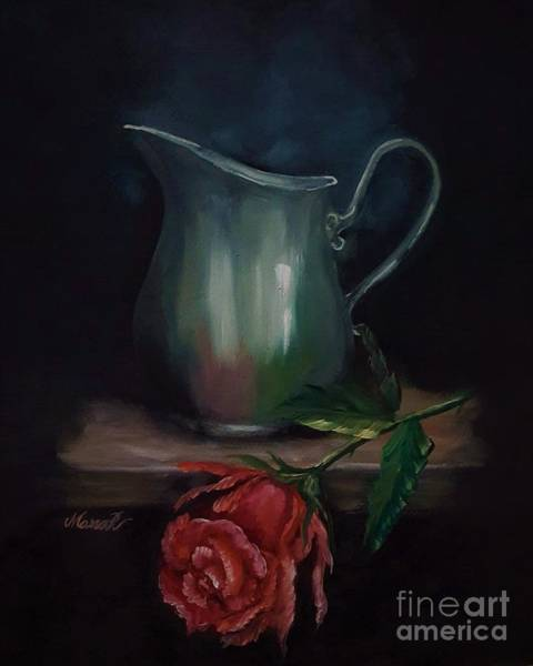 Painting - Vintage Water Pitcher And A Red Rose by Manar Hawsawi