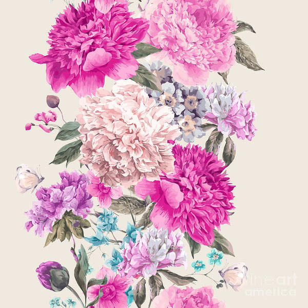 Victorian Garden Wall Art - Photograph - Vintage Watercolor Vector Floral by Depiano