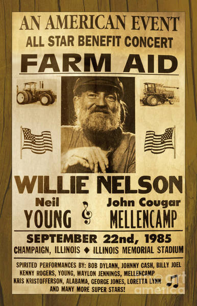 Wall Art - Photograph - Vintage Willie Nelson 1985 Farm Aid Poster On Wood Grain by John Stephens