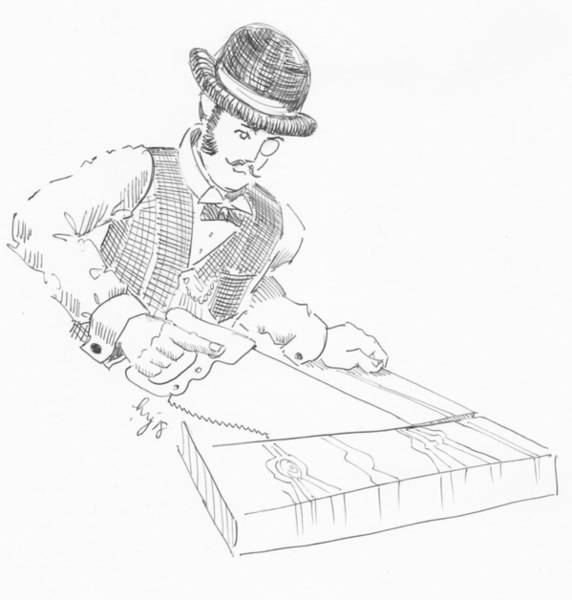 Drawing - Vintage Woodworking - Victorian Gentleman Carpenter Drawing by Mike Jory
