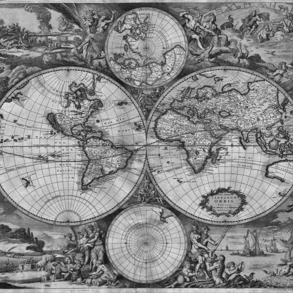 Drawing - Vintage World Map Print From 1689 - Black And White by Marianna Mills