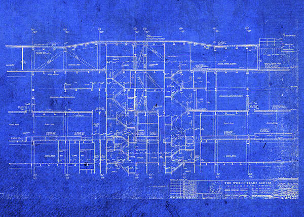 Wall Art - Mixed Media - Vintage World Trade Center New York North Tower New York City Blueprints Plans by Design Turnpike