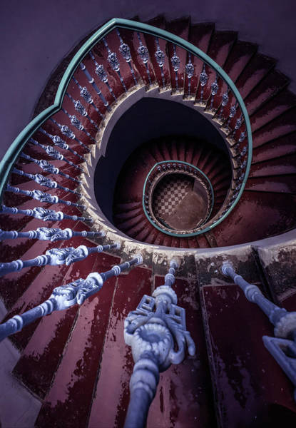 Photograph - Violet And Red Spiral Staircase by Jaroslaw Blaminsky