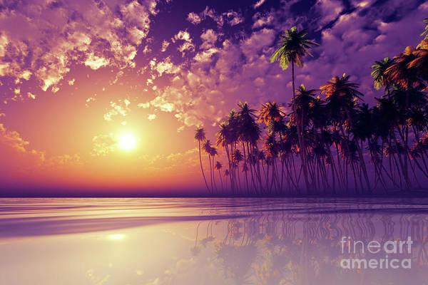 Wall Art - Photograph - Violet Sunset Over Tropic Sea by Aleksey Tugolukov