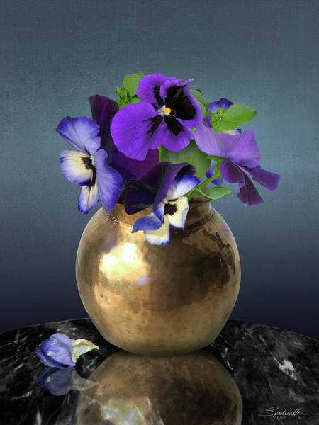 Wall Art - Digital Art - Violets In Copper Vase by M Spadecaller