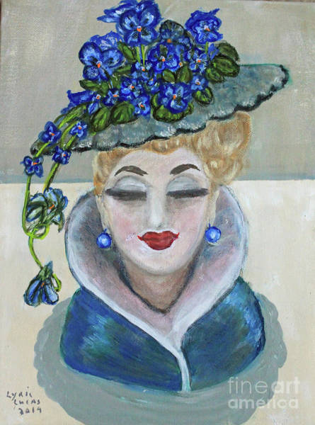 Wall Art - Painting - Violets In Head Vase by Lyric Lucas