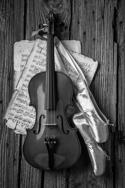 Wooden Shoe Photograph - Violin And Ballet Slippers In Black And White by Garry Gay
