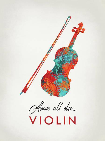 Violinist Wall Art - Digital Art - Violin Bright Hot Colors by Flo Karp