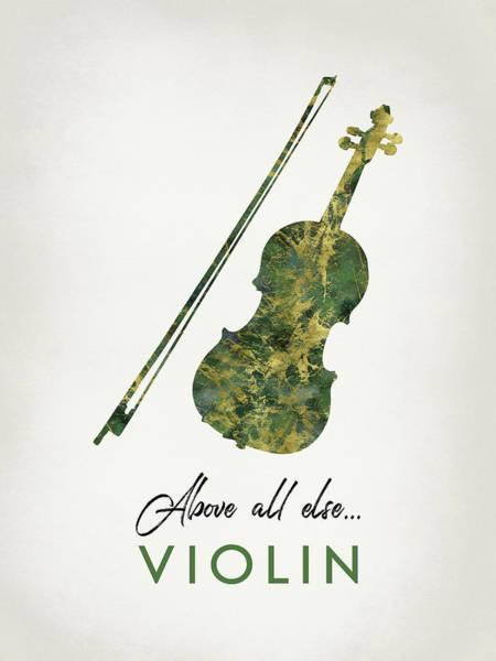 Violinist Wall Art - Digital Art - Violin - Green Marble by Flo Karp