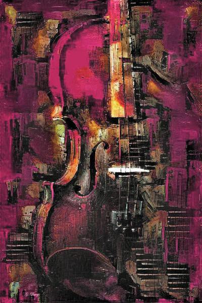 Music Room Mixed Media - Violin In Color 002 by G Berry