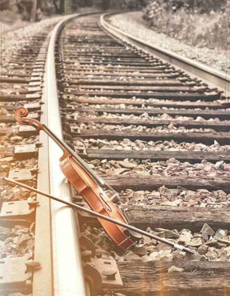 Photograph - Violin On The Tracks  by JAMART Photography