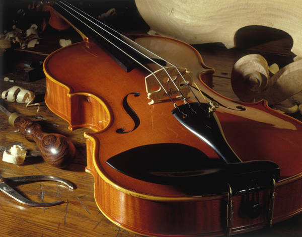 Craftsperson Photograph - Violin With Tools by Martin Fox