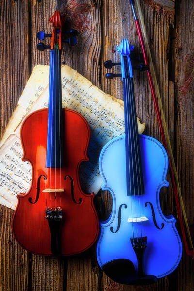 Wall Art - Photograph - Violins On Old Wall by Garry Gay