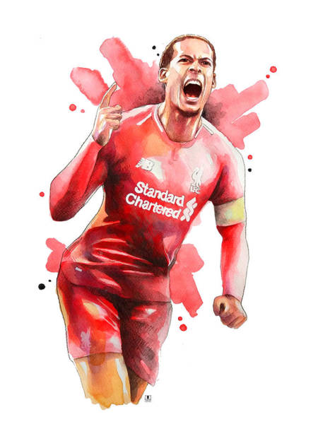 Wall Art - Painting - Virgil Van Dijk, Liverpool by Wachira Kacharat