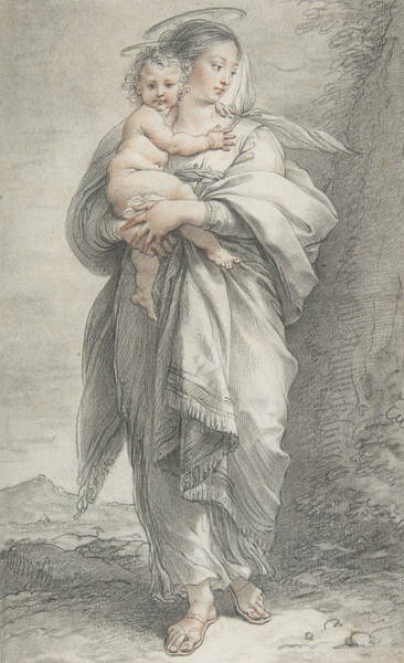 Drawing - Virgin And Child by Giuseppe Cades