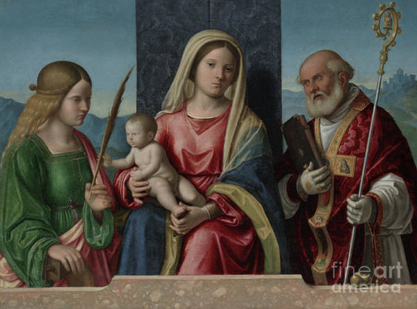 Wall Art - Painting - Virgin And Child With Saints Catherine And Nicholas by Giovanni Battista Cima da Conegliano