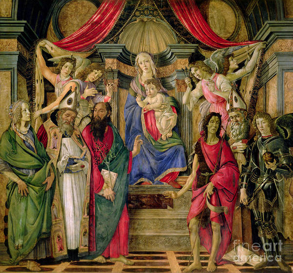 St Ignace Wall Art - Painting - Virgin And Child With Saints From The Altarpiece Of San Barnabas, by Sandro Botticelli