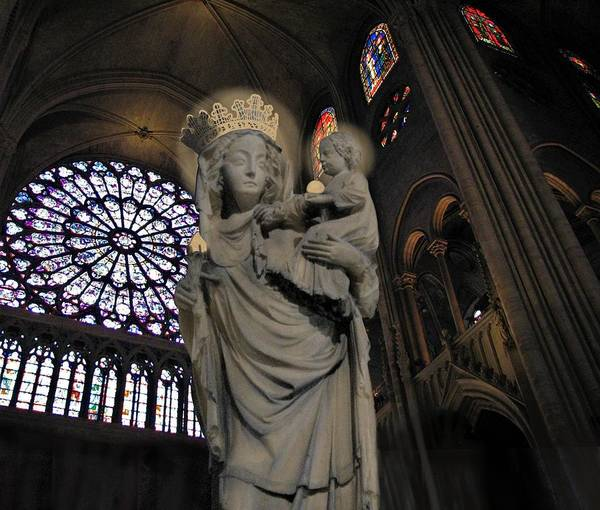 Mixed Media - Virgin And Christ Notre Dame  by Joan Stratton