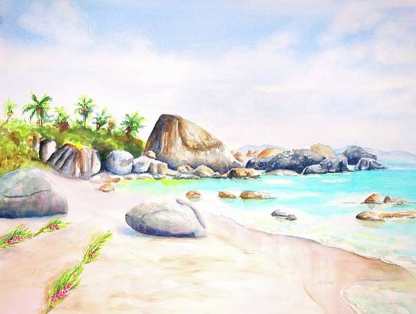 Painting - Virgin Gorda Little Trunk Bay by Carlin Blahnik CarlinArtWatercolor