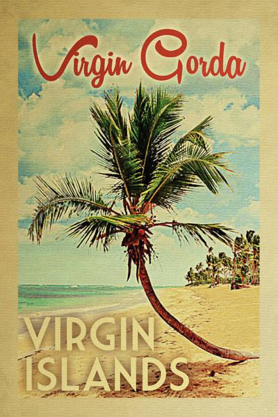 Virgin Digital Art - Virgin Gorda Virgin Islands Palm Tree by Flo Karp