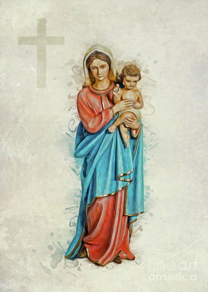 Digital Art - Virgin Mary And Jesus by Ian Mitchell