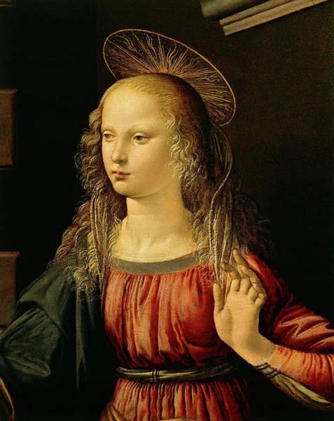 Wall Art - Painting - Virgin Mary, Detail From Annunciation By Leonardo Da Vinci by Leonardo Da Vinci