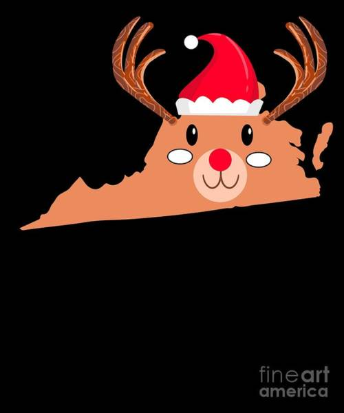 Ugly Digital Art - Virginia Christmas Hat Antler Red Nose Reindeer by TeeQueen2603