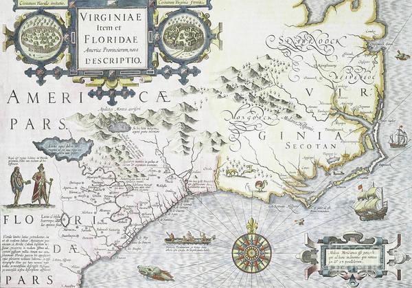 Drawing - Virginiae Item Et Floridae Americae Provinciarum, Nova Descriptio, 1636 by Jodocus Hondius