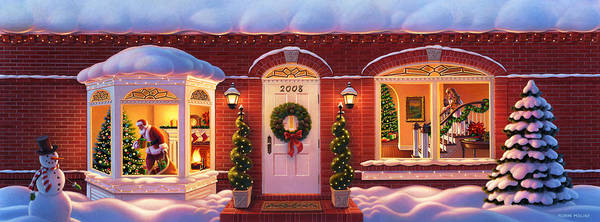 Painting - Visit From Santa  by Robin Moline