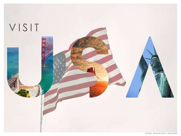 Painting - Visit Usa Minimalist Travel Poster by Adam Asar