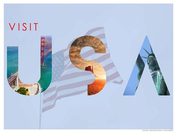 Painting - Visit Usa Minimalist Travel Poster V2 by Adam Asar