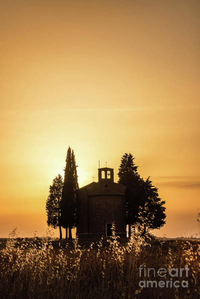 Wall Art - Photograph - Vitaleta Chapel At Sunset, Tuscany Italy by Delphimages Photo Creations