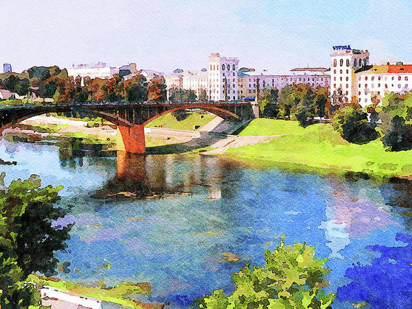 City Scape Digital Art - Vitebsk Sunny Day For Watercolor by Yury Malkov