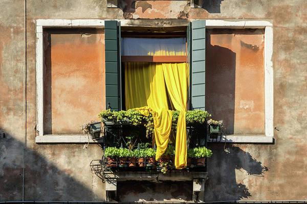 Wall Art - Photograph - Vivid Venetian Accents - Gen-z Yellow Curtains  by Georgia Mizuleva