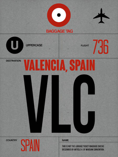 Wall Art - Digital Art - Vlc Valencia Luggage Tag I by Naxart Studio