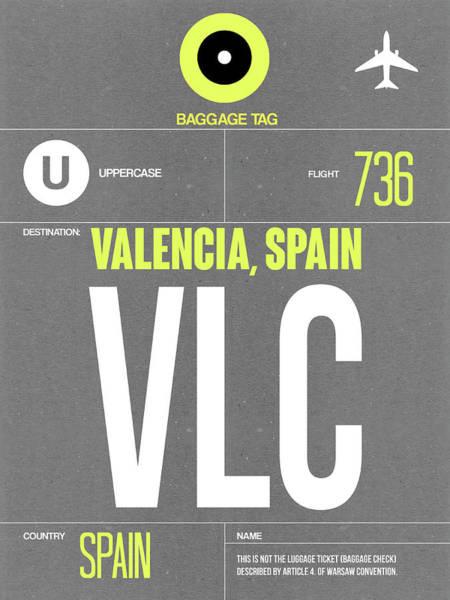 Wall Art - Digital Art - Vlc Valencia Luggage Tag II by Naxart Studio