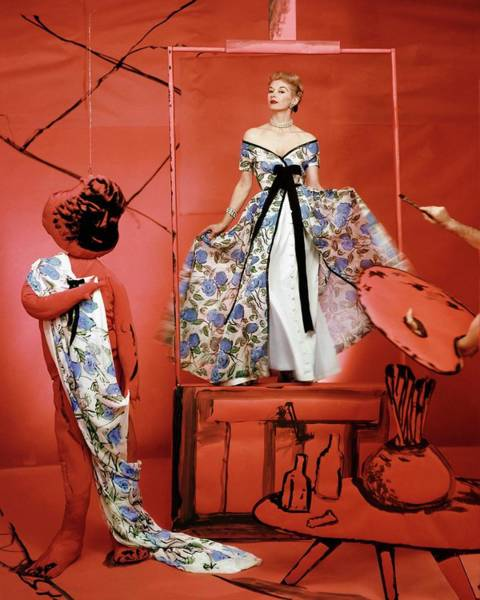 Red Dress Photograph - Vogue 1953 by Horst P. Horst