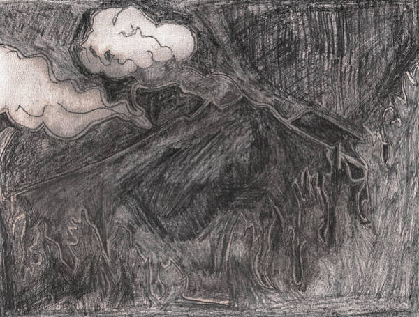 Drawing - Volcano After Billy Childish Pencil Drawing 30 by Artist Dot