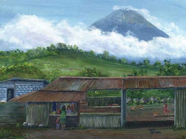 Painting - Volcano Agua, Guatemala, With Fruit Stand by Lenora De Lude
