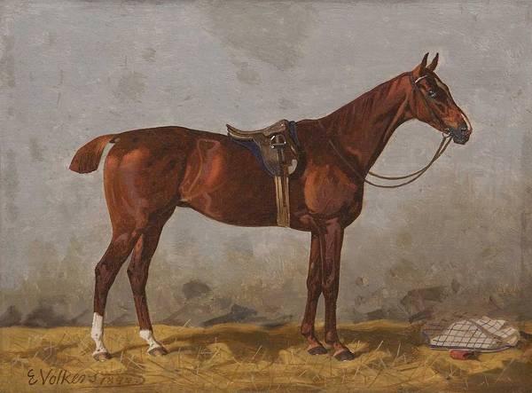 Wall Art - Painting - Volkers, Emil 1831 Birkenfeld  1905 Dusseldorf , Chestnut Horse , 1899 by Celestial Images