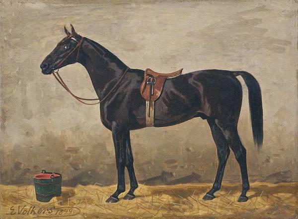 Wall Art - Painting - Volkers, Emil 1831 Birkenfeld  1905 Dusseldorf , Dark Brown Horse , 1899 by Celestial Images