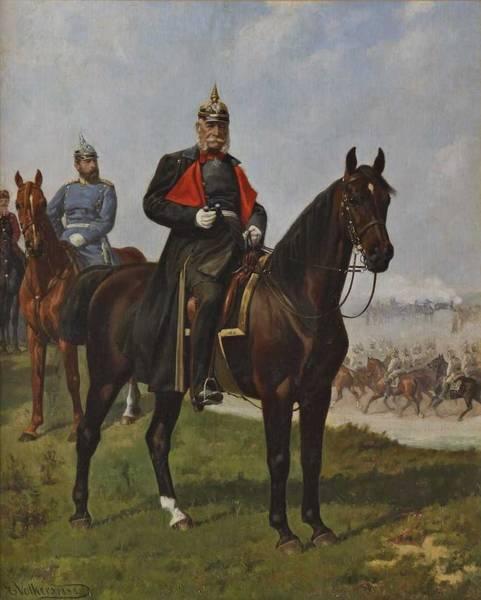 Wall Art - Painting - Volkers, Emil 1831 Birkenfeld  1905 Dusseldorf , Emperor William On Horseback , 1888 by Celestial Images