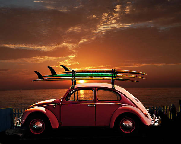 Wall Art - Photograph - Volkswagen Beetle With Surfboards At Sunset by Larry Butterworth