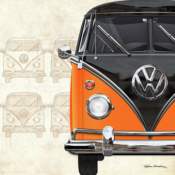 Digital Art - Volkswagen Type 2 - Black And Orange Volkswagen T1 Samba Bus Over Vintage Sketch  by Serge Averbukh