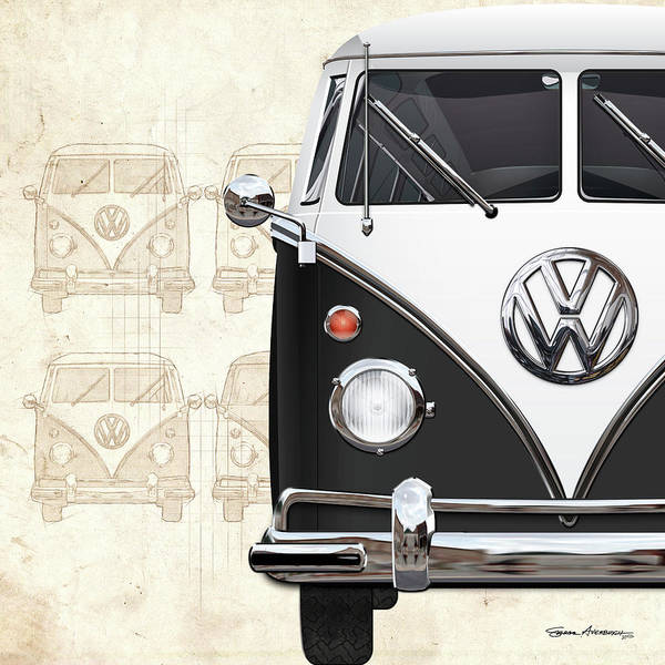 Digital Art - Volkswagen Type 2 - Black And White Volkswagen T1 Samba Bus Over Vintage Sketch  by Serge Averbukh