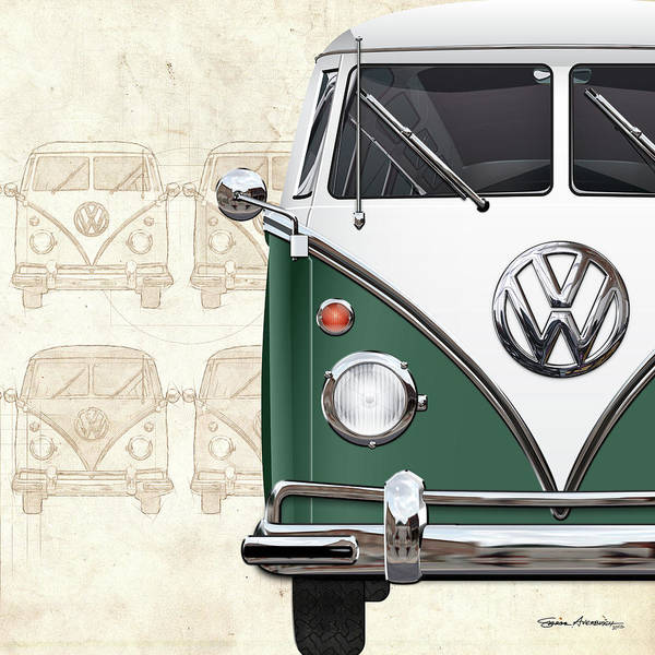 Digital Art - Volkswagen Type 2 - Green And White Volkswagen T1 Samba Bus Over Vintage Sketch by Serge Averbukh