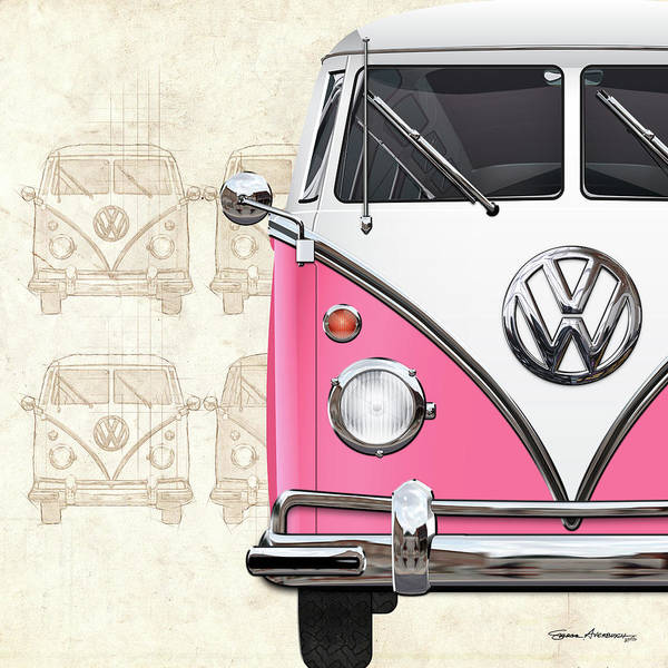 Digital Art - Volkswagen Type 2 - Pink And White Volkswagen T1 Samba Bus Over Vintage Sketch  by Serge Averbukh